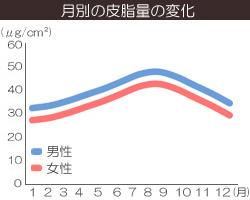 皮脂量の変化(月別)の画像グラフ
