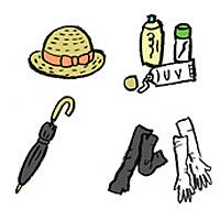 帽子と日焼け止めと日傘などの日焼け対策グッズの画像
